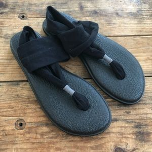 Sanuk 10 Black Yoga Sling Sandals Shoes